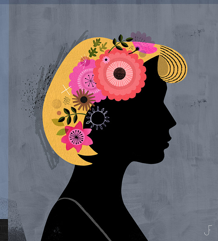 Jessie Ford, Bold minimal digital illustration of a black female silhouette with decorative elements in her hair