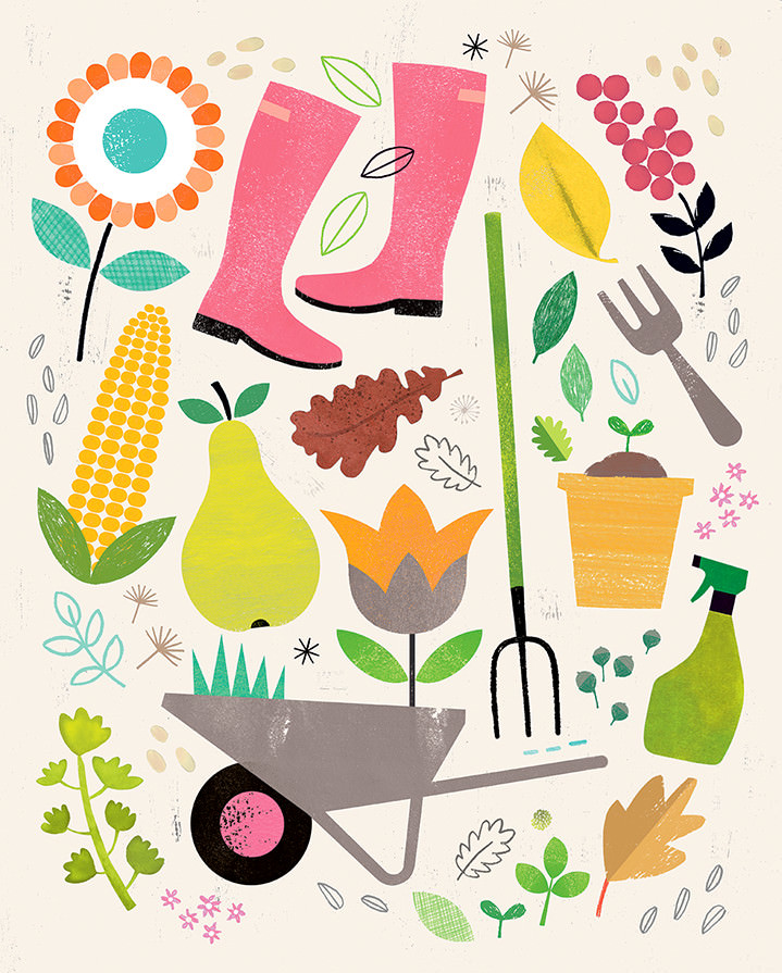 Jessie Ford, Textural spot illustrations of garden elements and tools