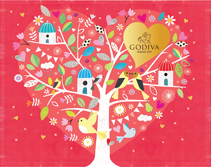Jessie Ford, Packaging for godiva chocolate of a tree with spot illustrations creating a heart