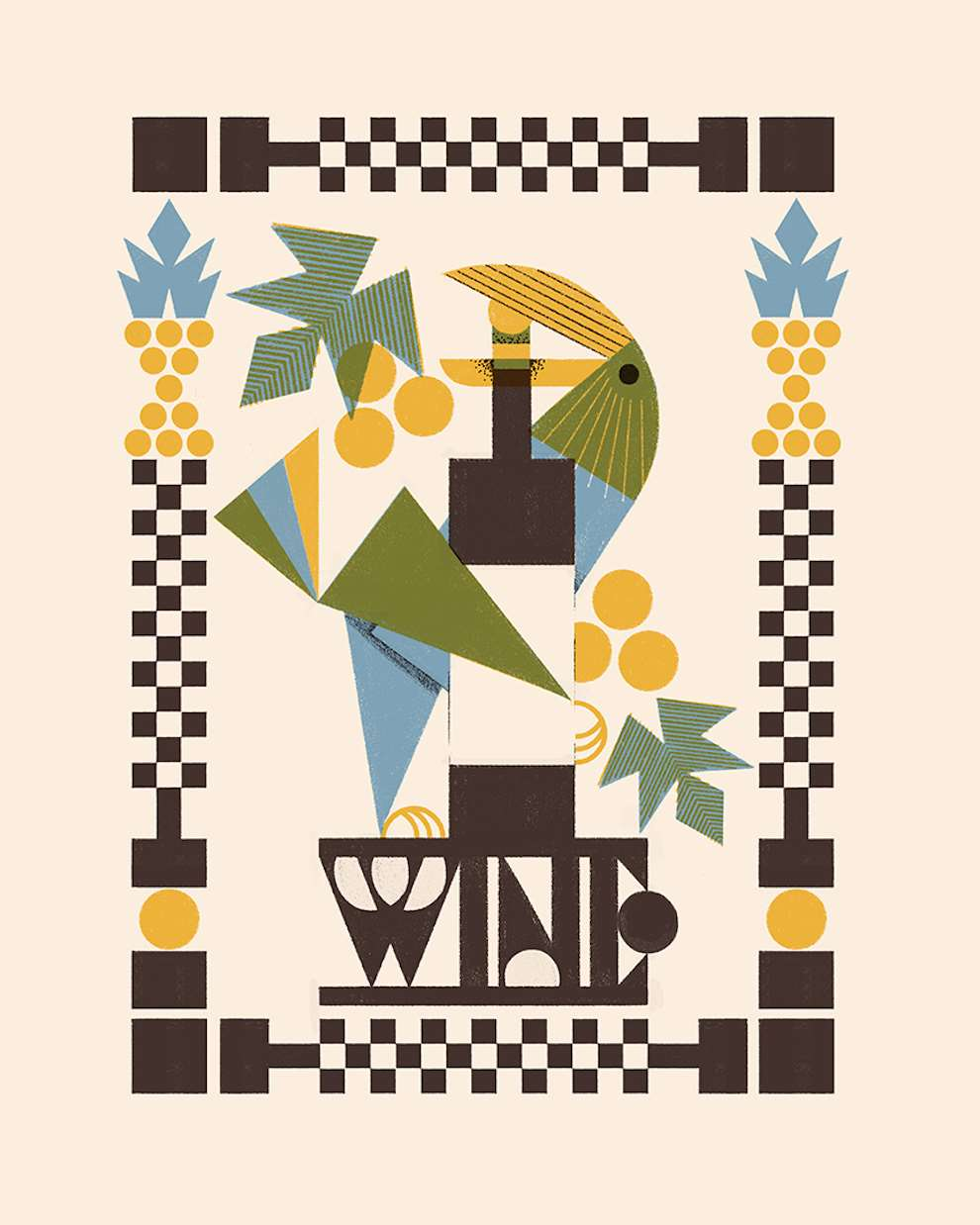 Marcos Farina, Bright and playful humorous digital illustration using limited blue, green and yellow colour palette.  Parrot posing on a wine bottle surrounded by decorative elements