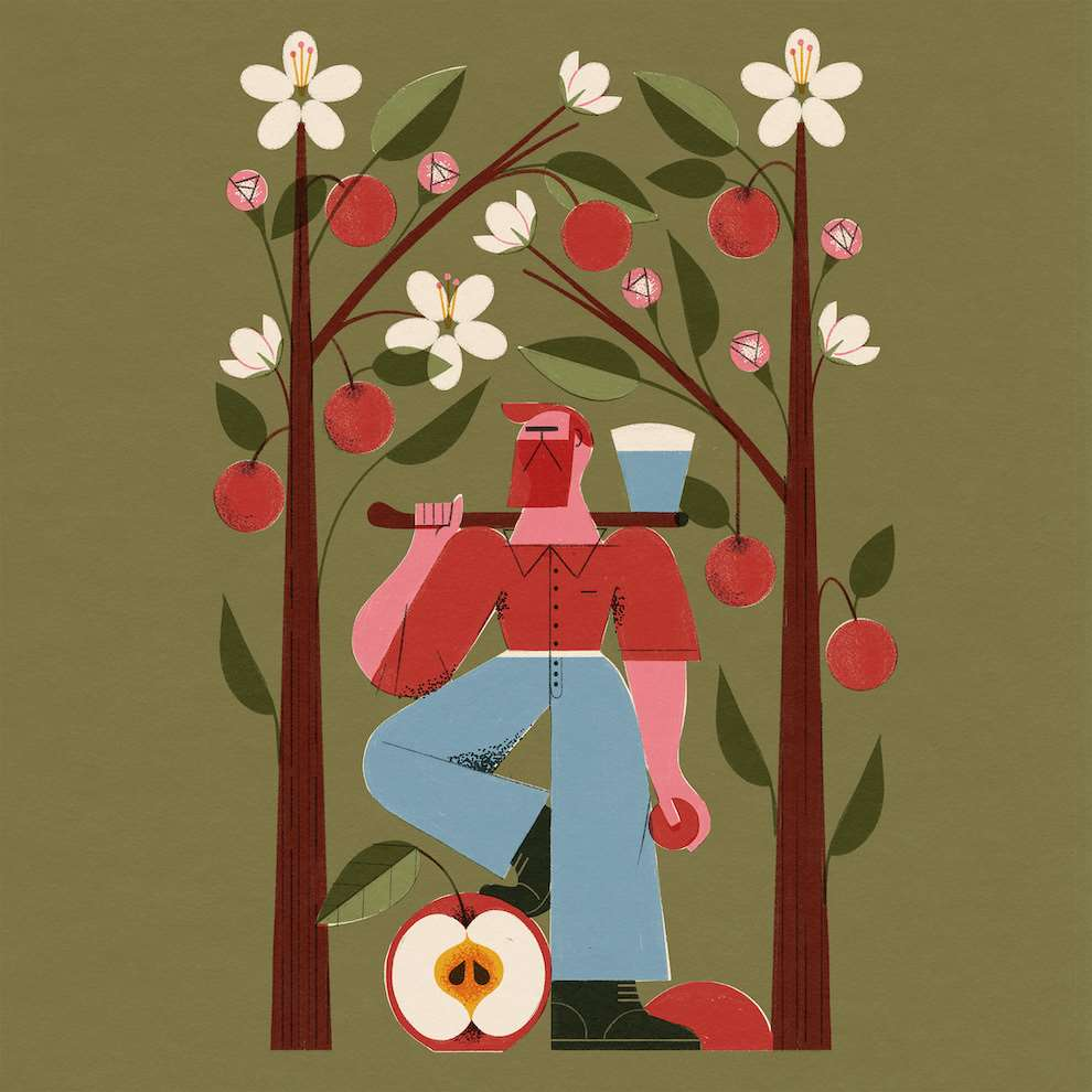 Marcos Farina, Textural and graphic illustration of an apple farmer posing between apple trees