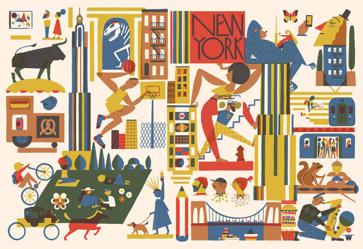 Marcos Farina, Composition of spot illustrations of New York iconic monument and elements. Minimalist shapes