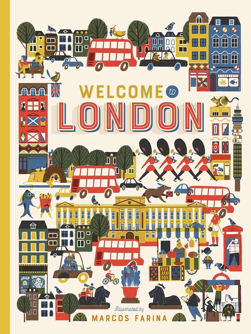Marcos Farina, Book cover about London. Digital and textural illustrations of London landmark and famous elements. Playful and bright.