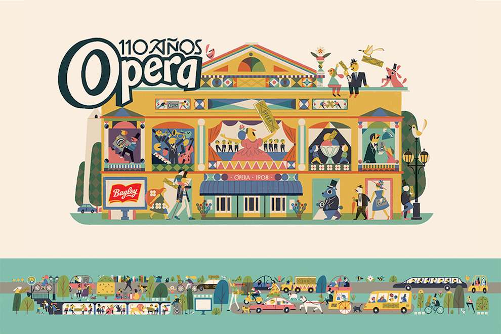 Marcos Farina, Playful children like illustration of a detailed opera scenery