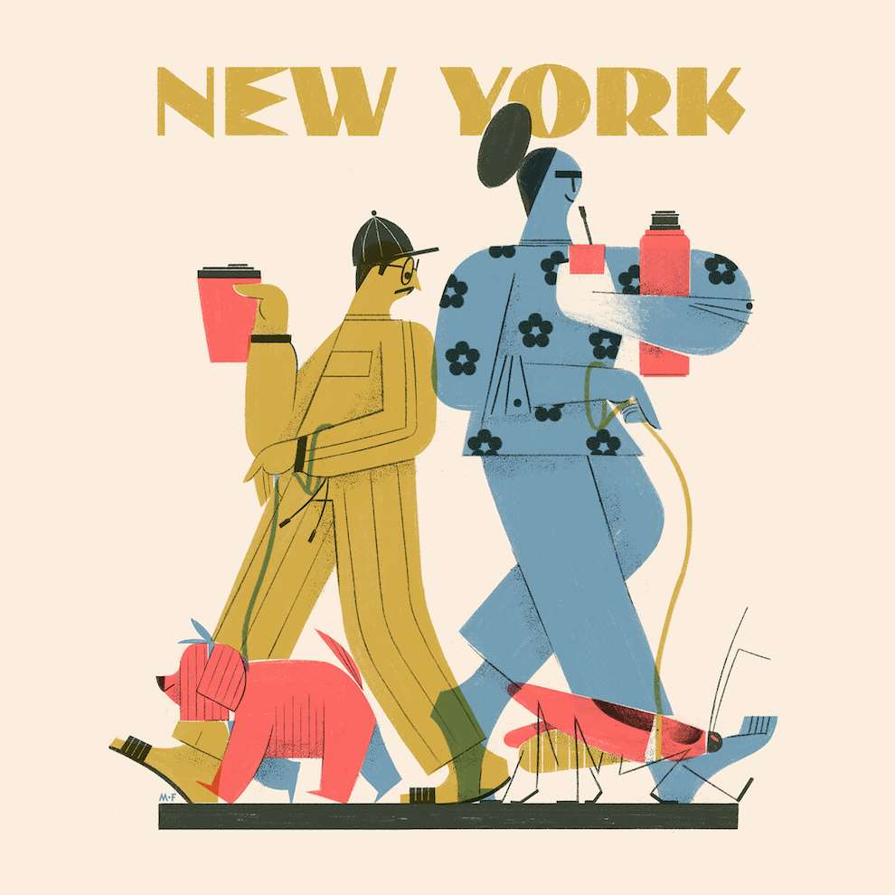 Marcos Farina, Digital textural illustration of hipsters walking their dig in New York City