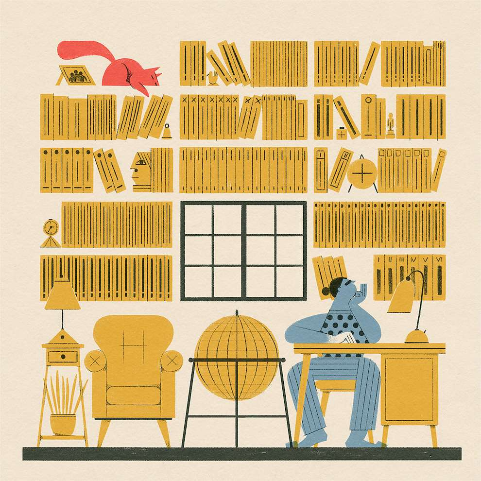 Marcos Farina, Textural and minimal graphic illustration of a character in a library
