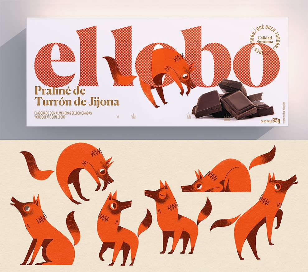 Marcos Farina, Graphic illustration of foxes on chocolate packaging