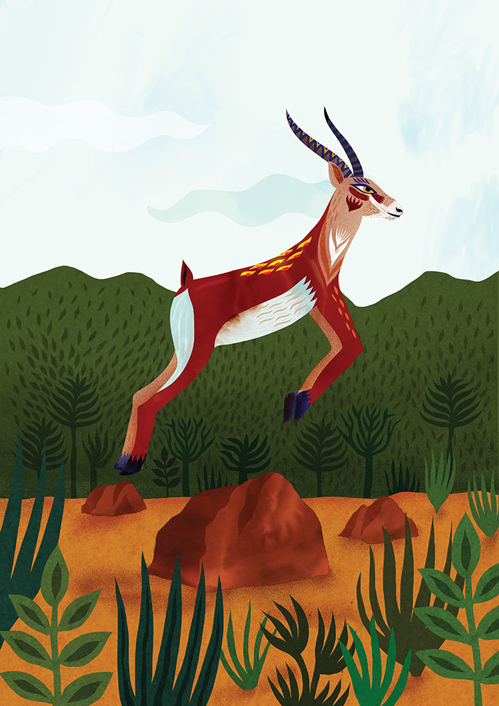 Margaux Carpentier, Folk textural illustration of an antelope jumping