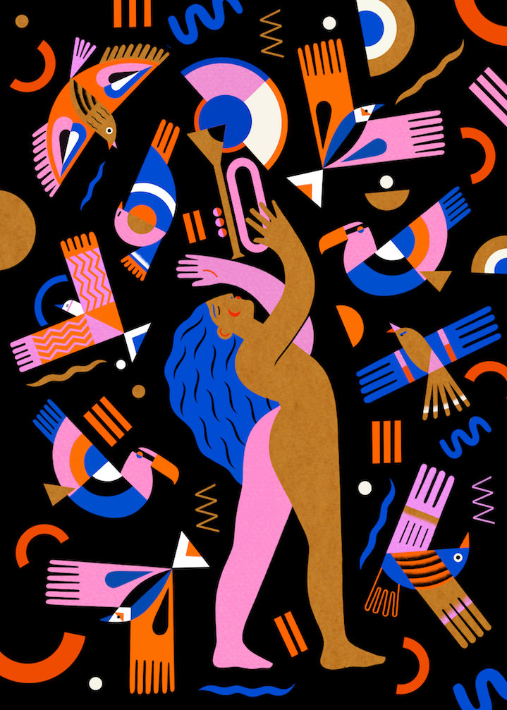 Margaux Carpentier, Bold and digital illustration of a woman dancing and playing trumpet. Birds and decorative elements in a black background