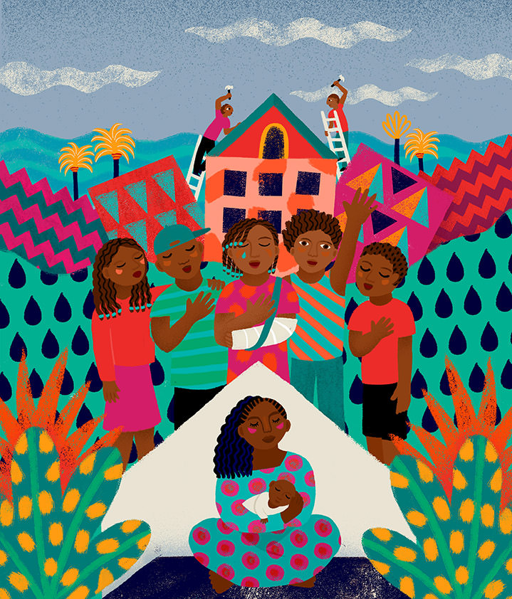 Margaux Carpentier, Folk illustration of a community singing for a newborn. Vibrant and decorative landscape