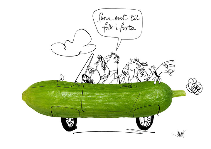 MH Jeeves, MH Jeeves witty cucumber illustration of a family in a car, ink line drawn