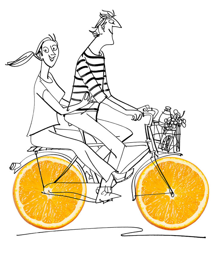 MH Jeeves, Photo collage and sketch illustration of oranges used as the wheels of a bike
