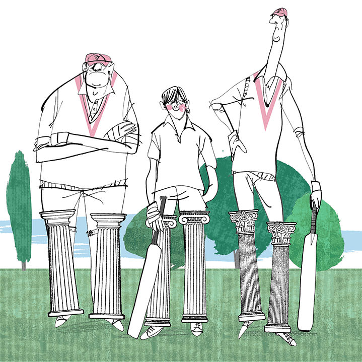 MH Jeeves, MH Jeeves cricket illustration, collage and ink