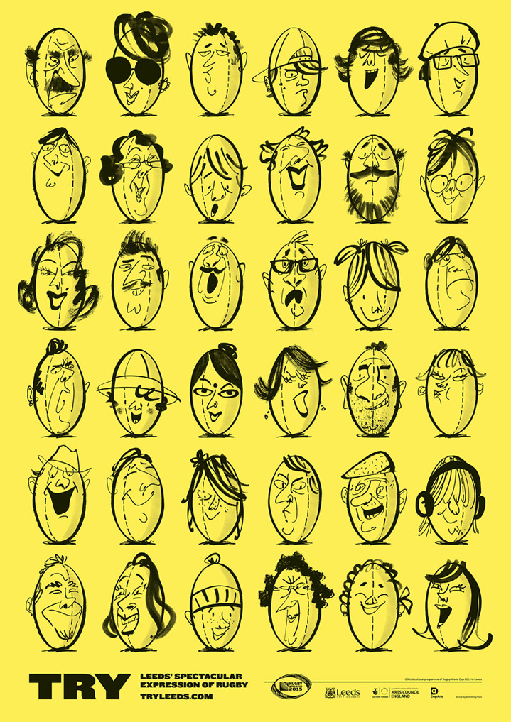 MH Jeeves, MH Jeeves rugby ball character faces. Line drawn