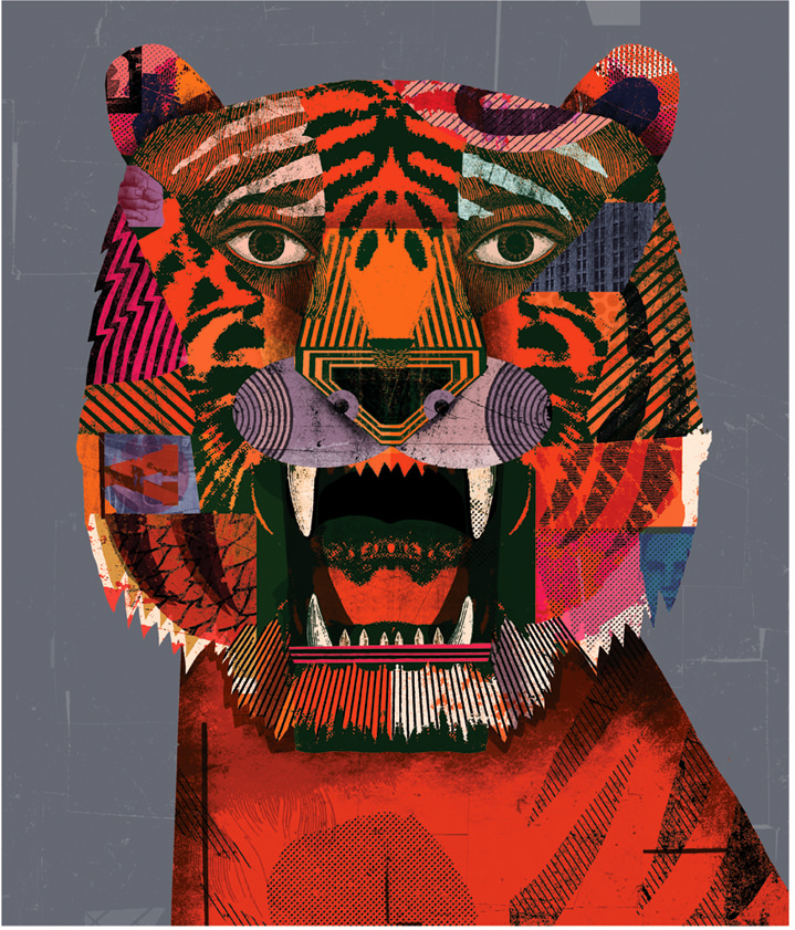 Christian Northeast, Playful and colourful collage of a tiger in a retro style