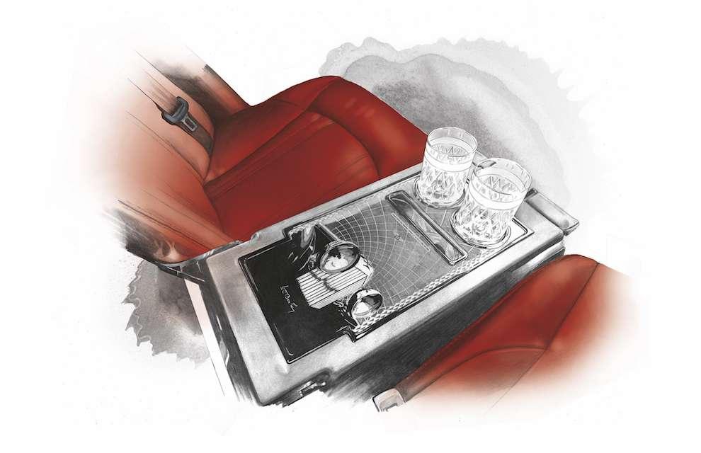 Studio Morales, Pencil and watercolour illustration of a car interior