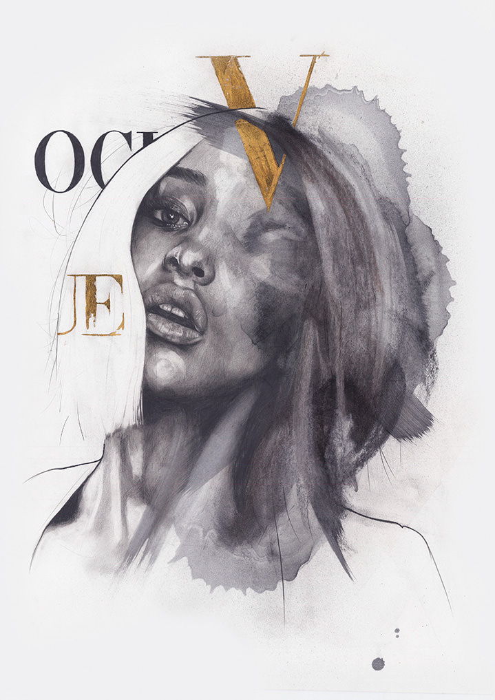 Studio Morales, Charcoal and pencil portrait of a model. Sketch illustration and gold lettering for vogue magazine