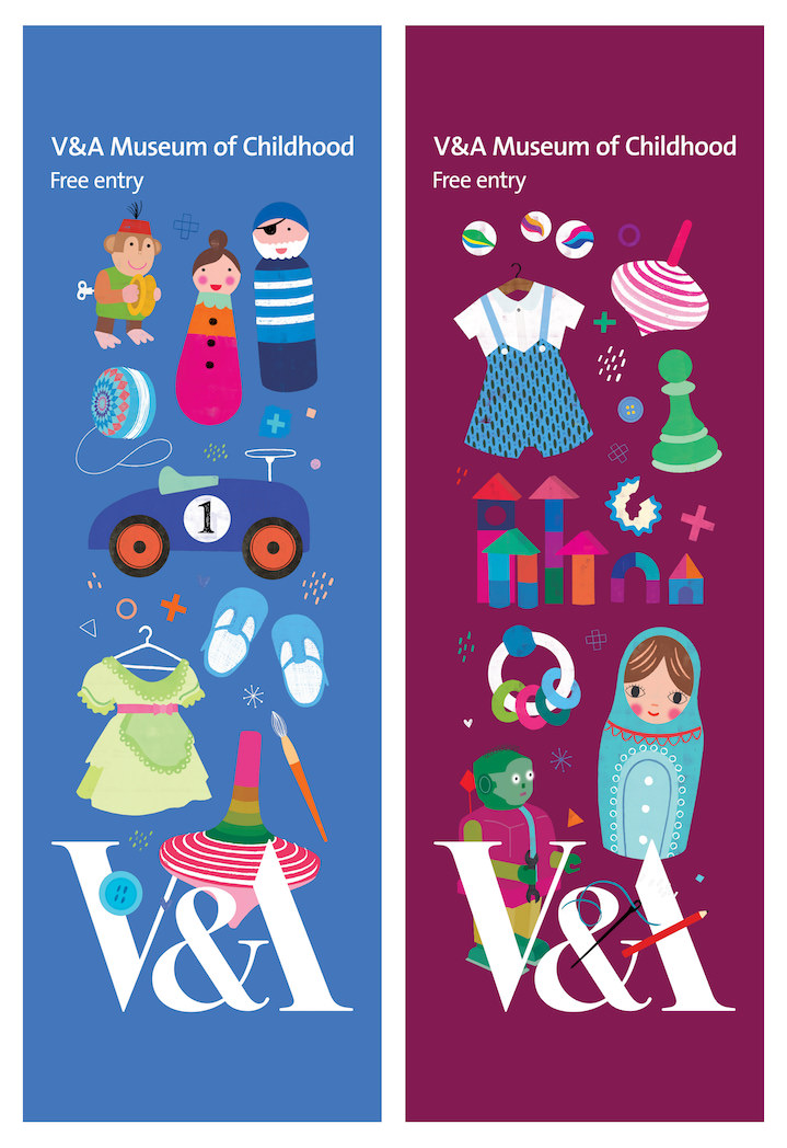 Sugar Snap Studio, Sugar Snap Studio advertisement for the V&A museum of childhood with stylised childrens toy in a vintage screenprint style