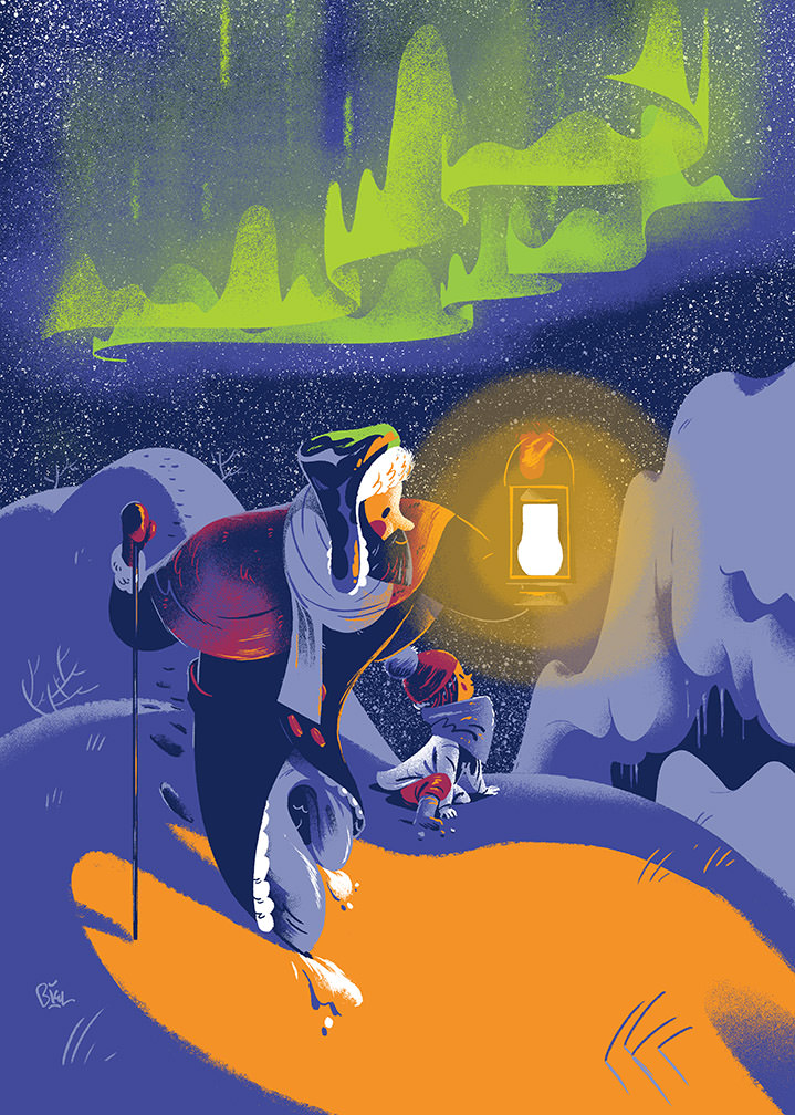 Jan Bielecki, Narrative illustration of a man hiking with his daughter to look at the northern Lights