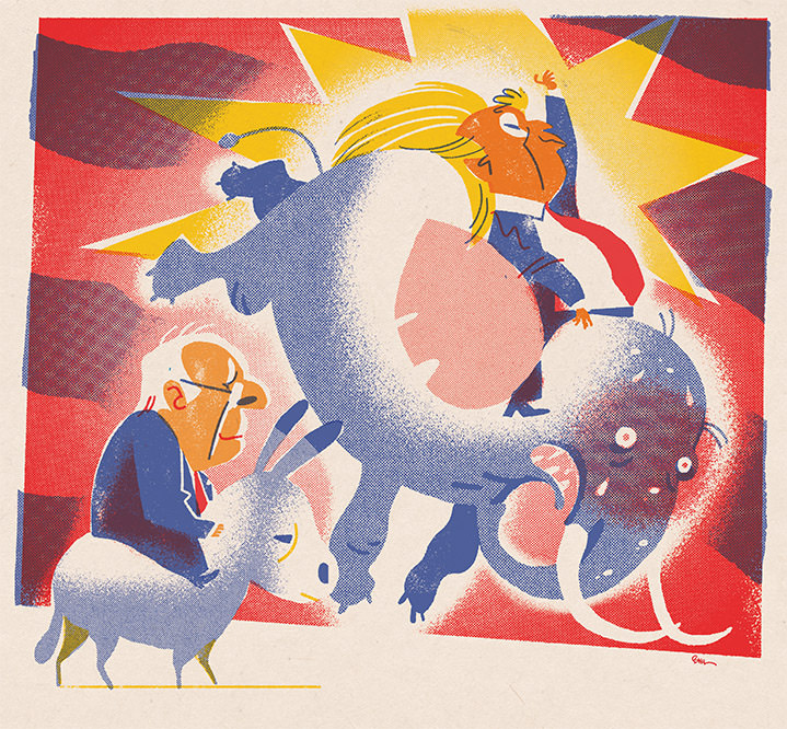 Jan Bielecki, Satirical illustration of Donal trump riding an elephant