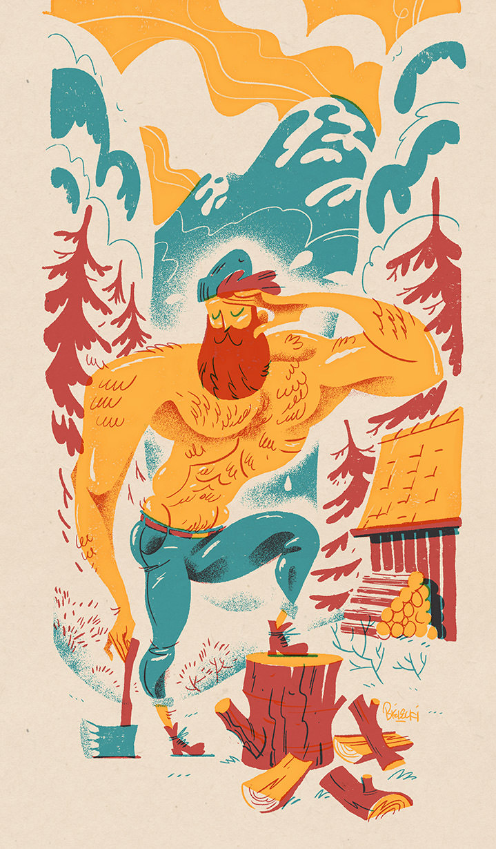 Jan Bielecki, Retro textural illustration of a topless lumberjack in the forest chopping wood