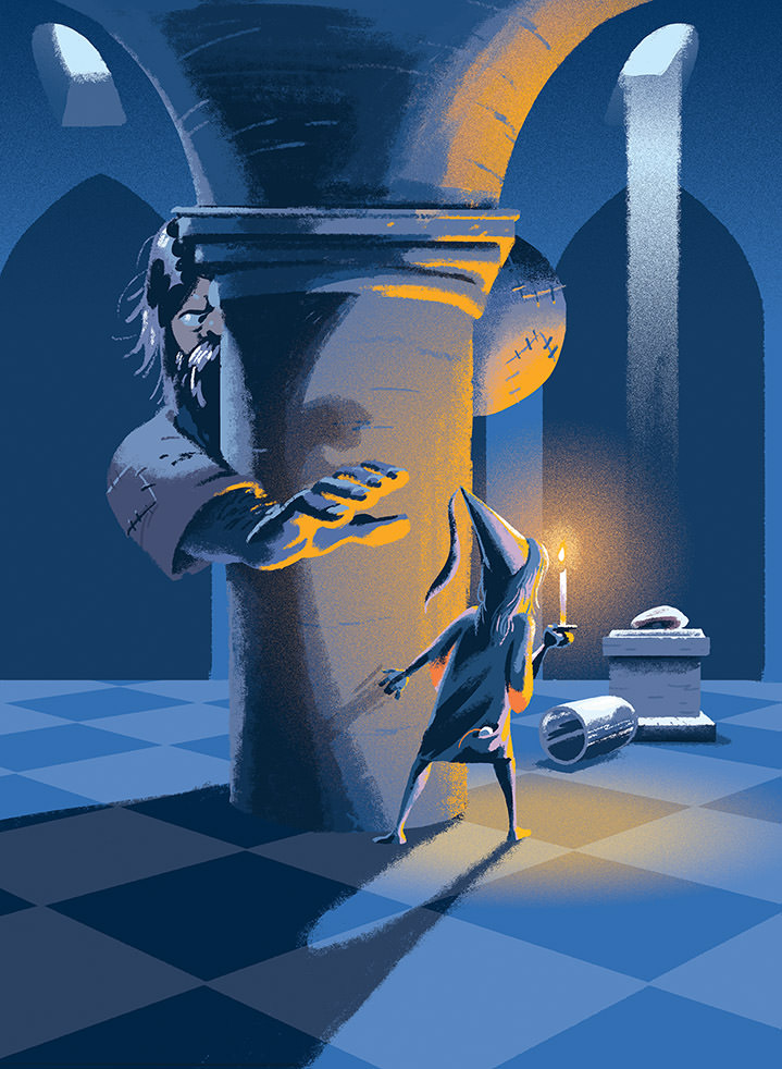 Jan Bielecki, Children book digital illustration of a little girl in a dark with a candle lighting up a room. Gigantic man hiding about to catch her.