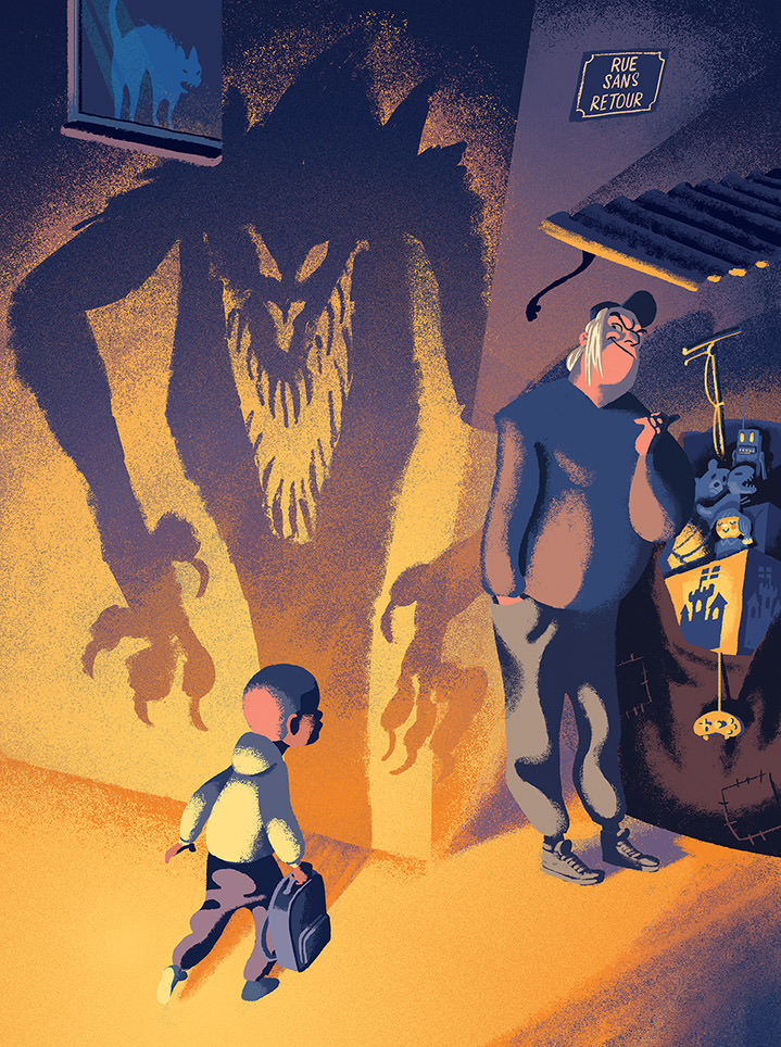 Jan Bielecki, Children book digital illustration. Evil man in a corner of the street with a monster shadow.
