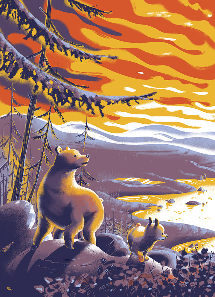 Jan Bielecki, Beautiful textural illustration of a wildlife scene of two bear in the sunset