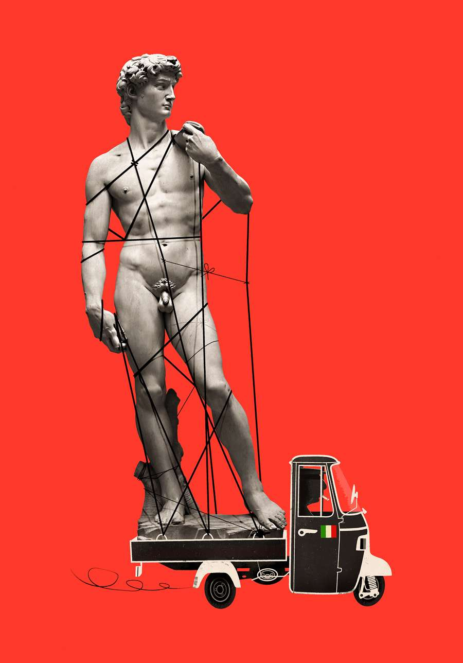 Jonas Bergstrand, Collaged photographic and mixed media illustration of a statue.