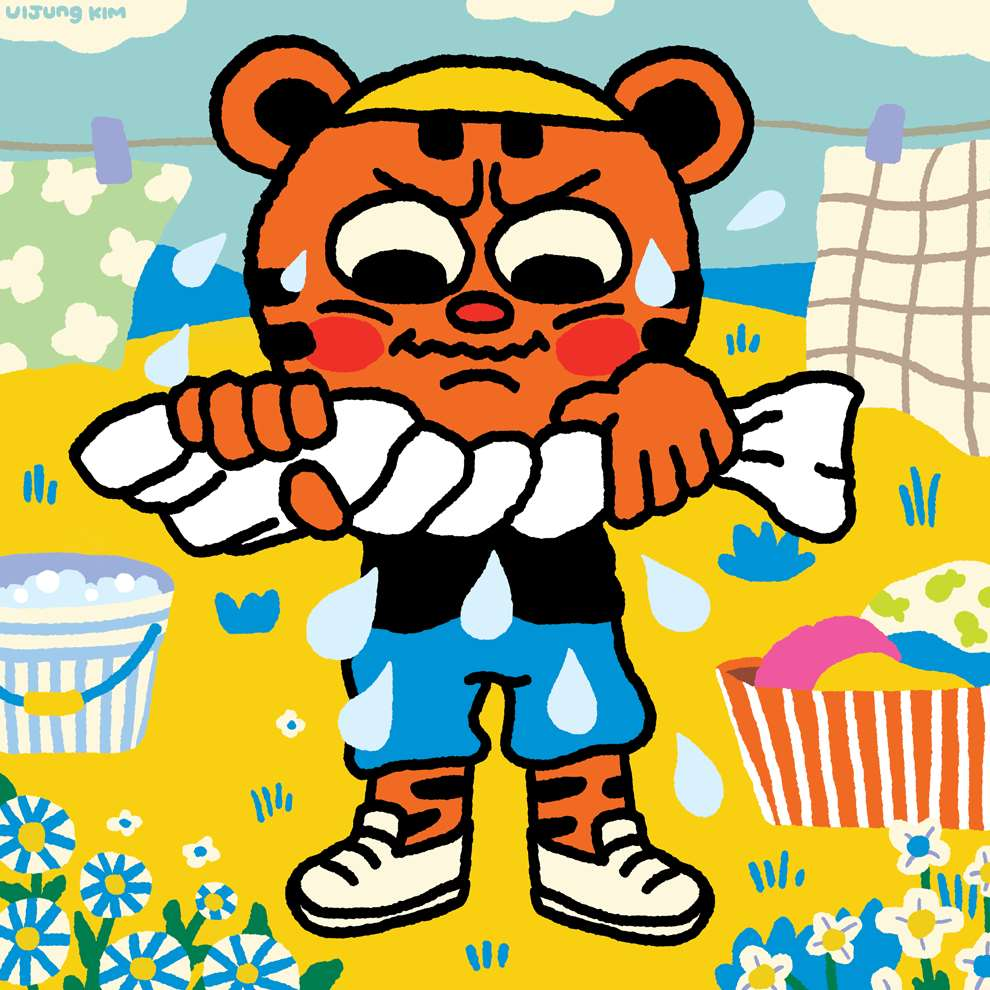 Uijung Kim, Tiger character ringing out their washing from the washing line. Bold, graphic style, black outline.