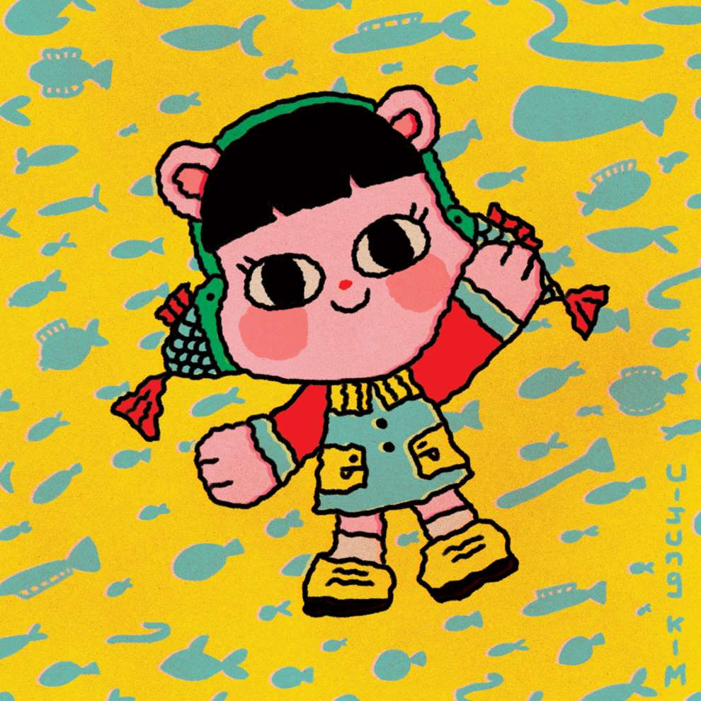 Uijung Kim, Uijung Kim - vibrant, playful style character on patterned background.