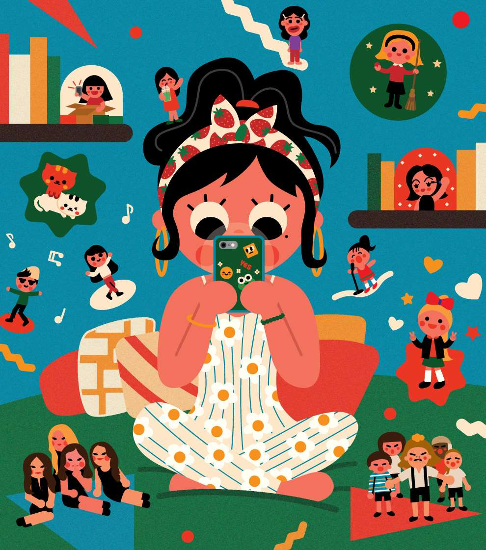 Uijung Kim, Playful illustration of a girl on her phone. Vector style.