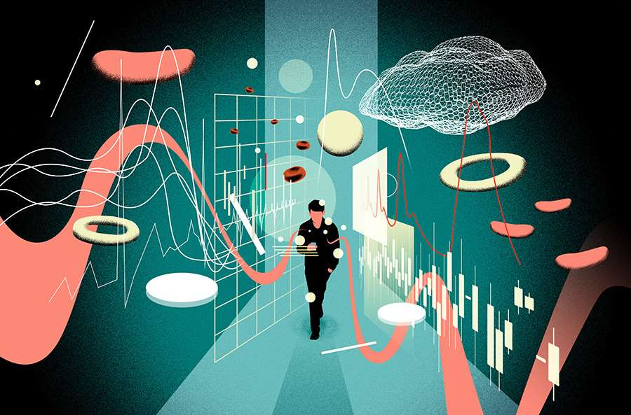 Mario Wagner, Conceptual editorial illustration exploring digital healthcare. Illustration of a man walking through space surrounding by graphic shapes.