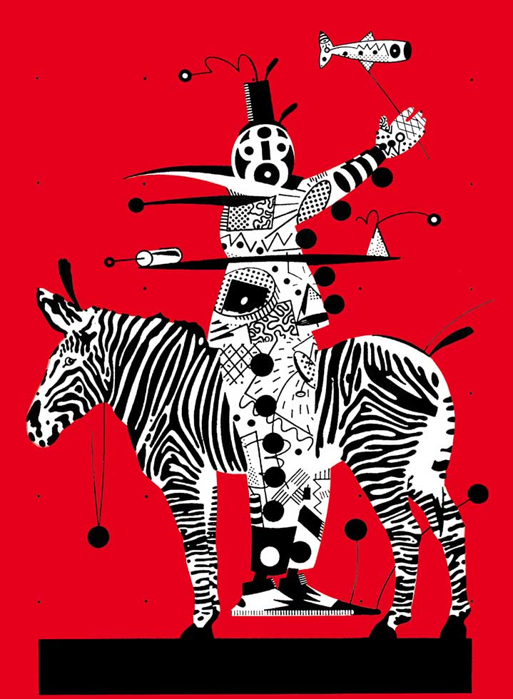 Chris McEwan, Bold and graphic illustration of a clown riding a zebra