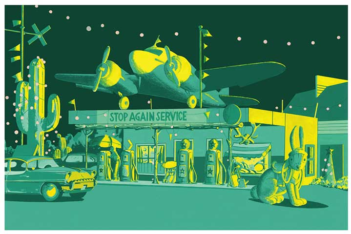 Chris McEwan, Digital illustration of a petrol service shop in green colour scale