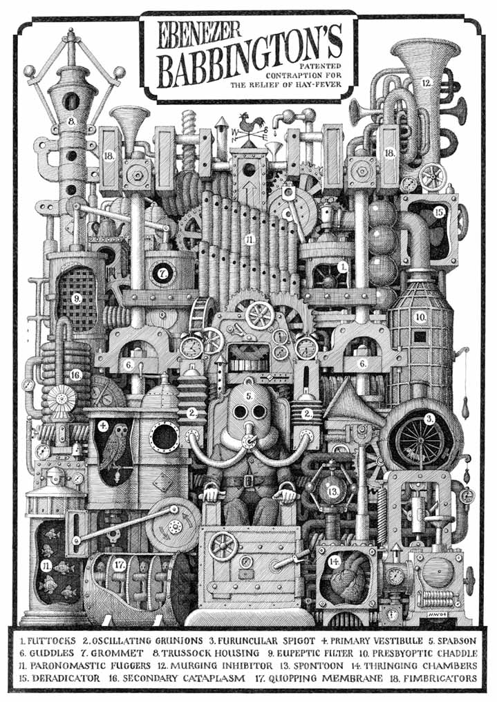 Mike Wilks, Surreal medical invention created by Mike Wilks full of technical elements and gadgets. Black and white illustration in etching style.