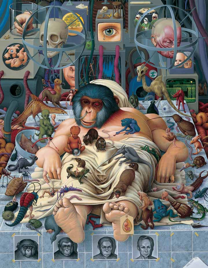 Mike Wilks, Surreal hand-painted illustration of a monkey human surrounded by animals and medical equipment painted in a hyper-realist style