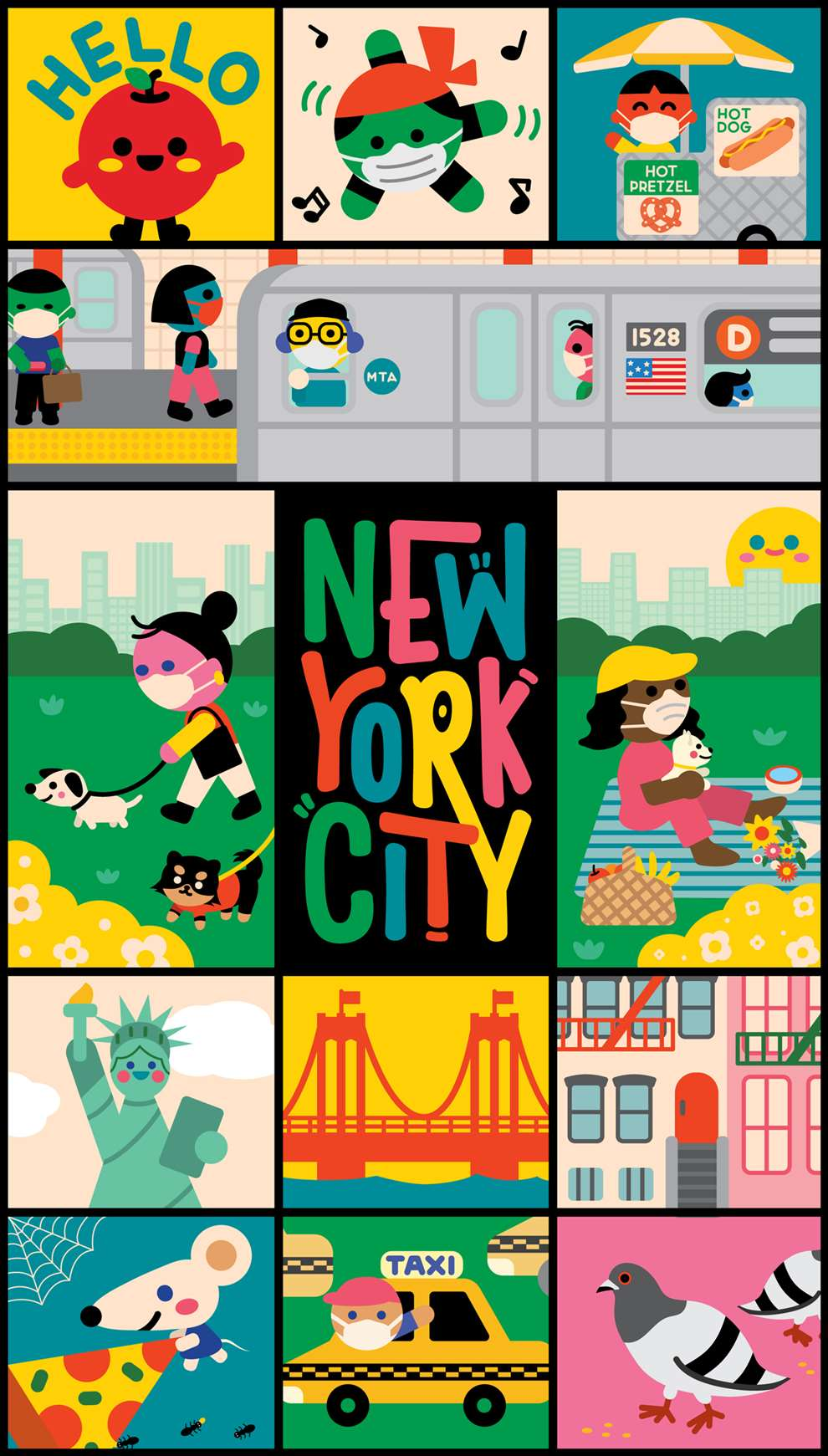 Uijung Kim, Illustration of New York City for LinkNYC. Travel, city. Poster playful bold style.