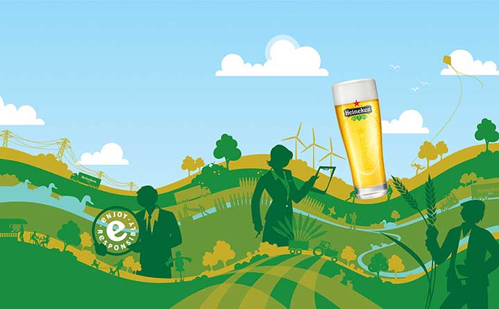 Paul Oakley, Bold vectorise illustration of a landscape for a beer advertising