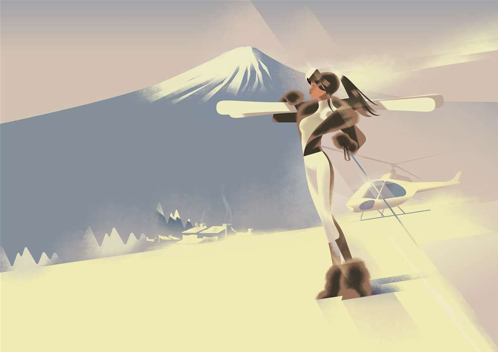 Mads Berg, Art Deco style illustration of a woman skiing, snowing in the mountains.