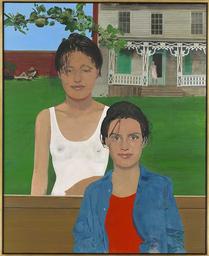 Sir Peter Blake, Handpainted illustration of two young girls posting in a garden with a house in the background