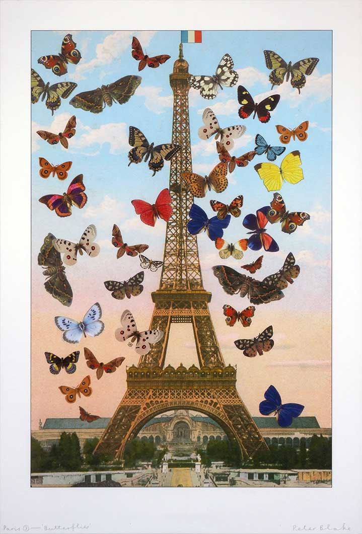 Sir Peter Blake, Illustration of the Eifel Tower with photocollage of butterflies