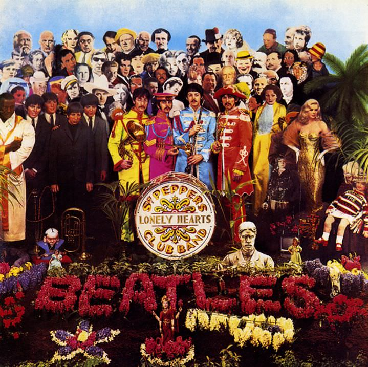 sir peter blake, illustrator, illustration, beatles, sgt peppers lonely hearts club band, music, album cover, rock, vintage, classic, 60's, 70's artwork, sleeve, record