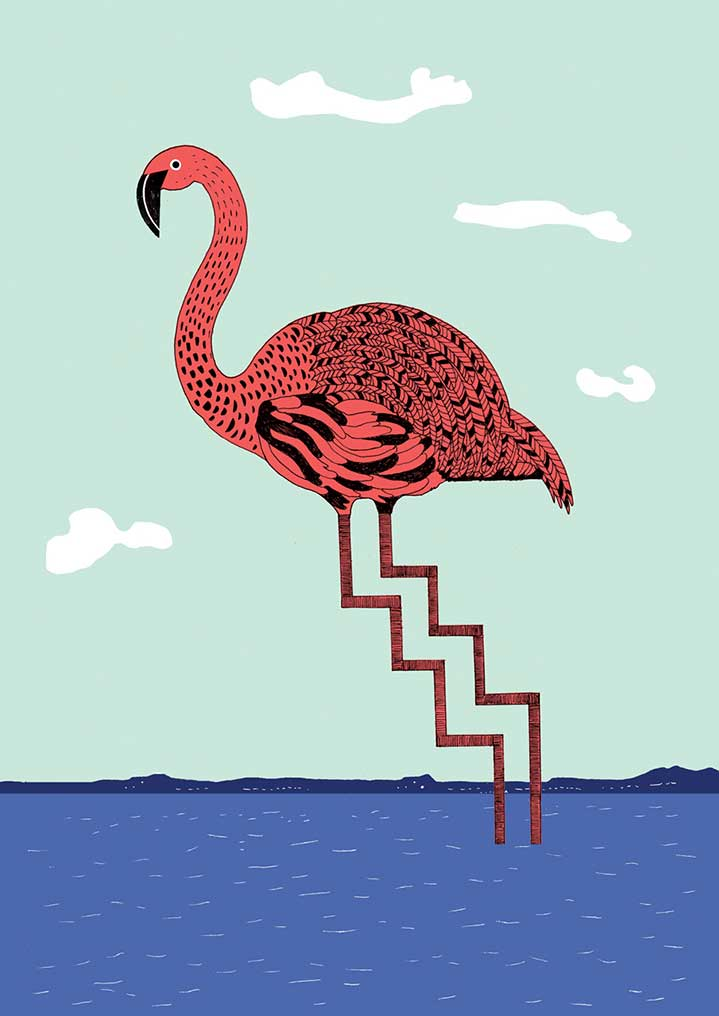Harriet Russell, Surreal hand drawn flamingo