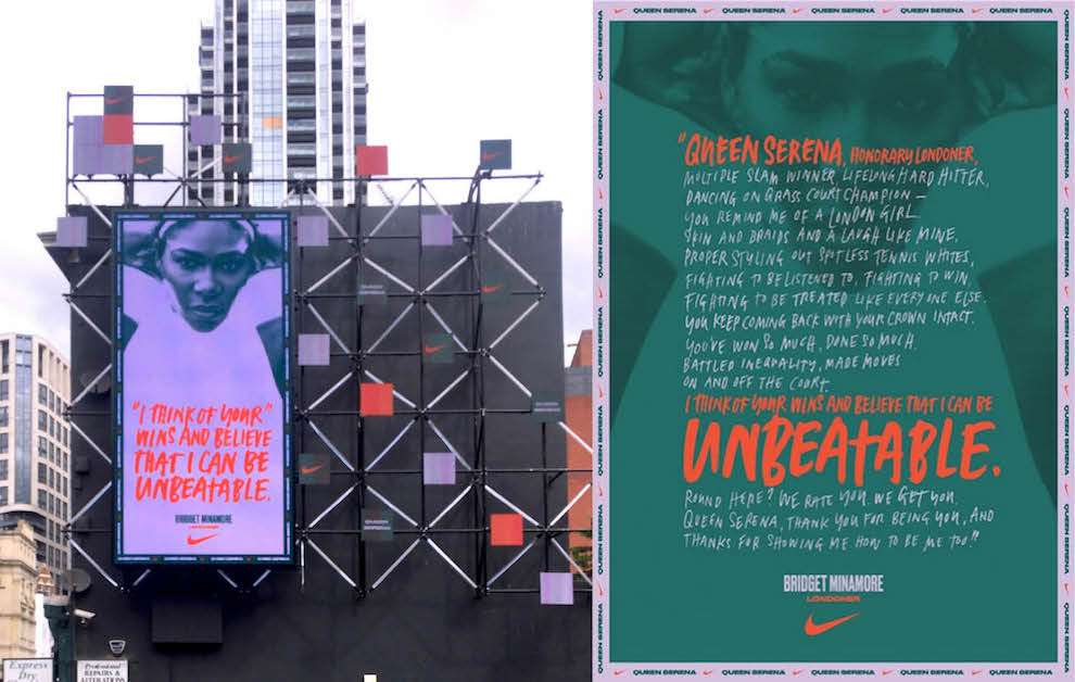Ulla Puggaard, Typography illustration for Nike campaign on Serena Williams
