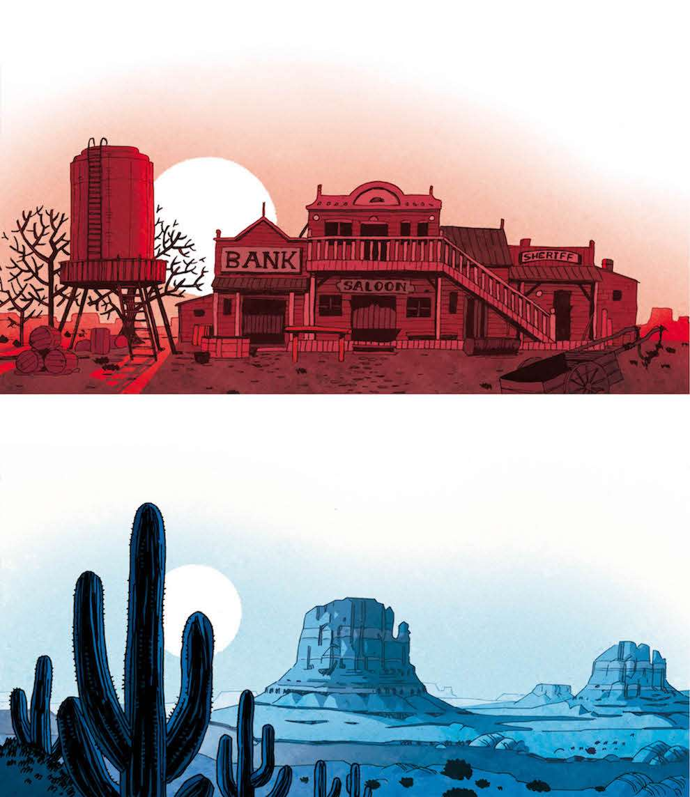 Coke Navarro, comic style farouest cowboy landscape illustration