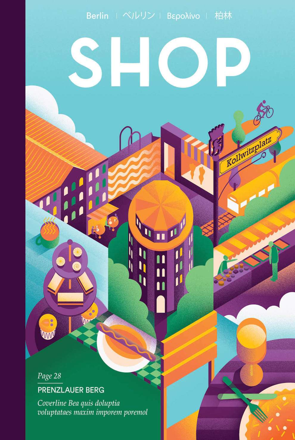 Jack Daly, Digitally illustrated magazine cover for Shop Magazine. Graphic collage style to illustrate the Prenzlauer Berg region.