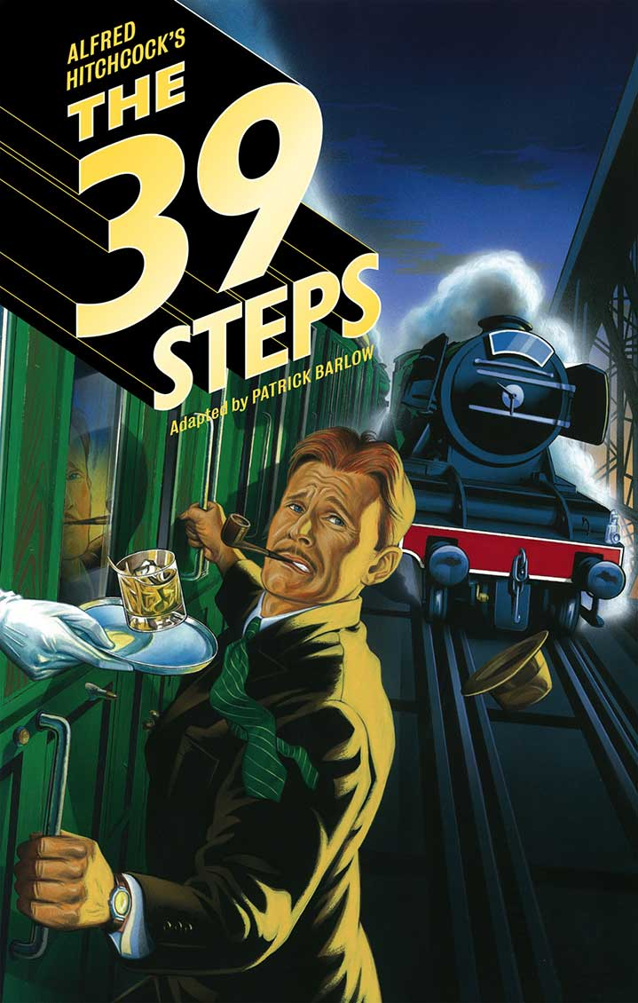 Mark Thomas, retro theatre poster for The 39 Steps showing a man on a train with a cocktail in peril. Hand painted vintage mad men advertising style. contemporary pastiche