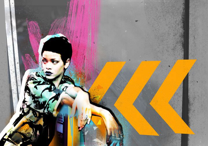 Tim Marrs, Collage of Rihanna in industrial and urban background with pink brush effect. Textural and vibrant illustration