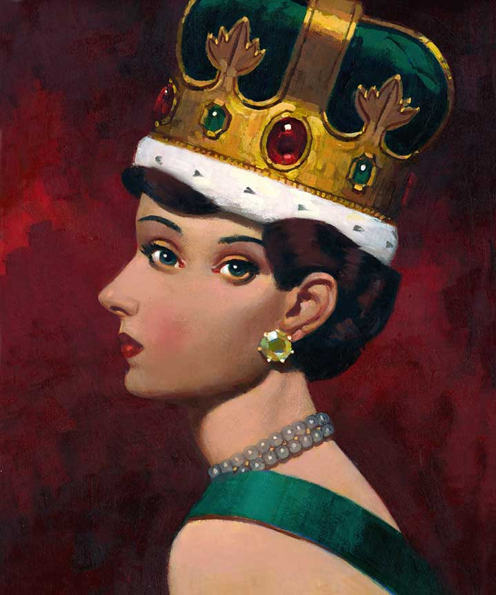Paul Slater, Surreal vintage hand painted portrait of the queen